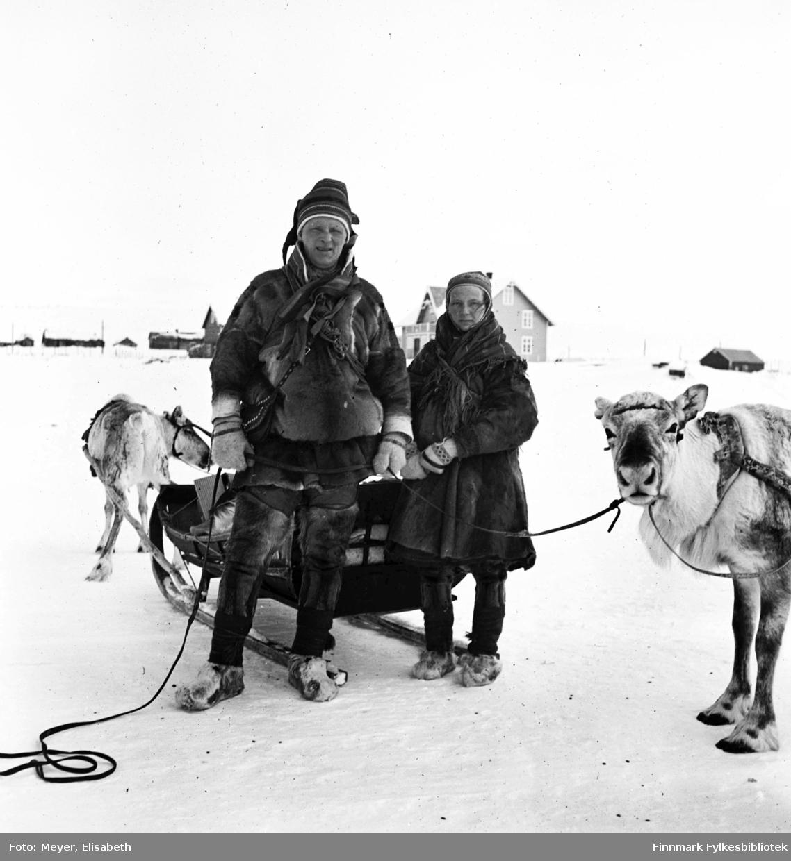 Mikkel Mikkelsen Logje og Inger Anne Magnusdatter Sara  fotografert foran sleden med kjørerein på hver side, i Kautokeino påsketider 1940.