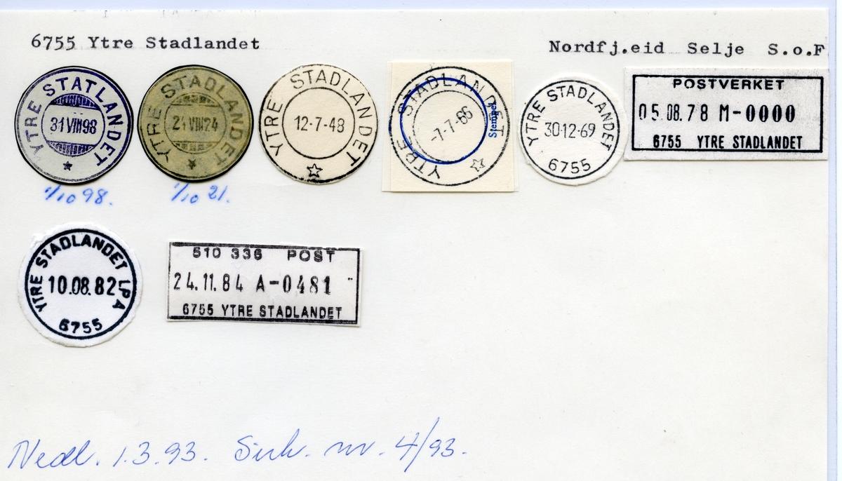 Stempelkatalog  6755 Ytre Stadtlandet, Selje kommune, Sogn og Fjordane