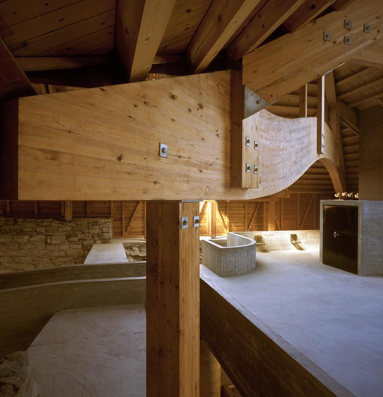 Limtre og betong kjennetegner Sverre Fehns arbeid.