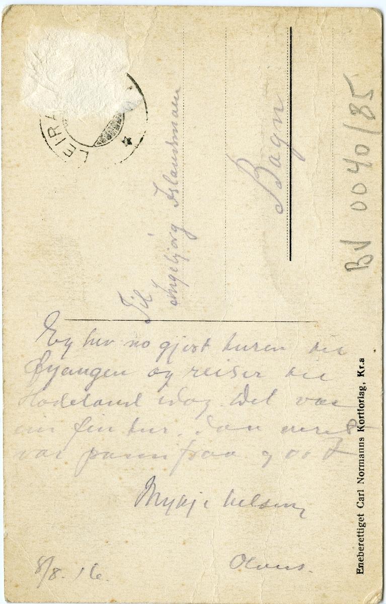 Postkort med motiv av Fagerlund hotell, Fagernes, Nord-Aurdal. Kortet er sendt 8/8-1916.
