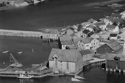 Mosjøen sett fra Øyfjellet;bl.a.Bordvednes-brua under utfyll