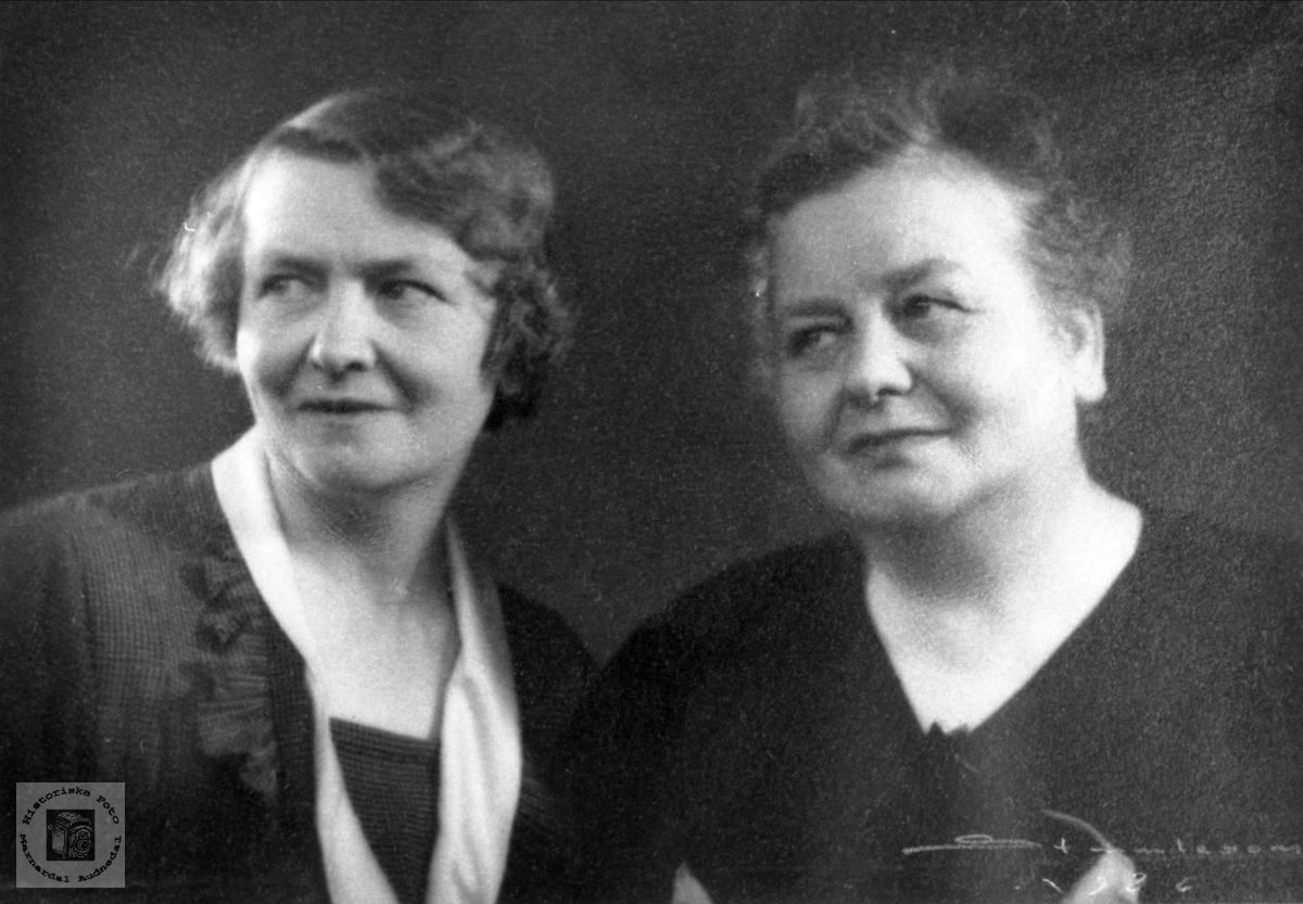 Portrett av søstrene Helvig og Ingeborg Bjerland, Bjelland.