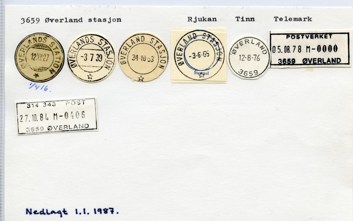 Stempelkatalog  3659 Øverland, Tinn kommune, Telemark (Øverlands station 1916)