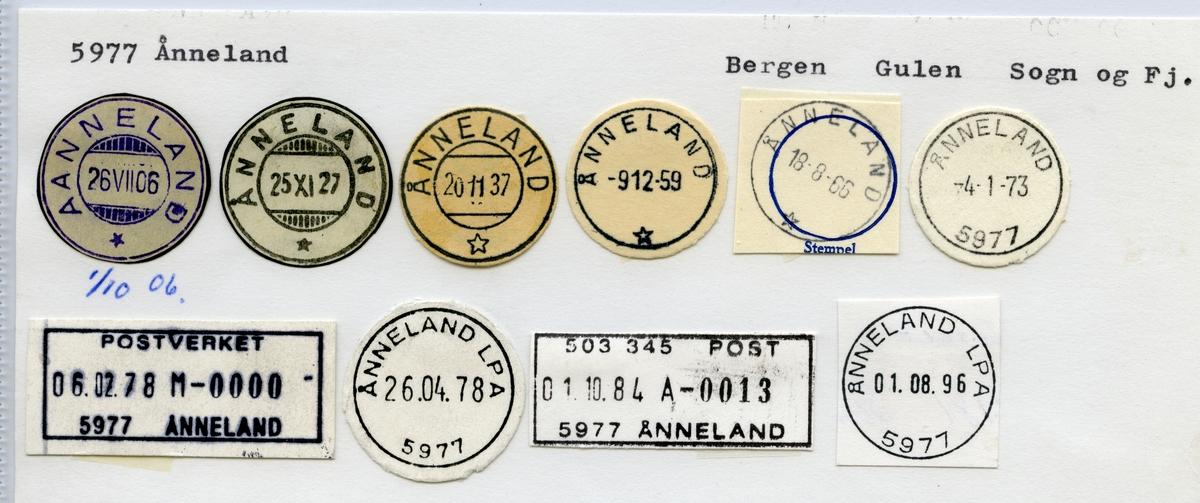 5977 Ånneland (Aanneland), Bergen, Gulen, Sogn og Fjordane