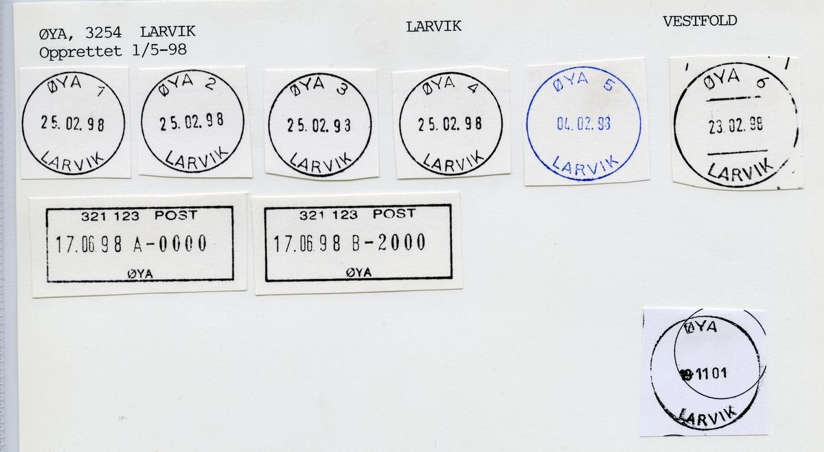 Stempelkatalog  Øya, Larvik kommune, Vestfold