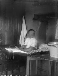 Tore Alinder sitter på bordet i köket, Sävasta, Altuna socke