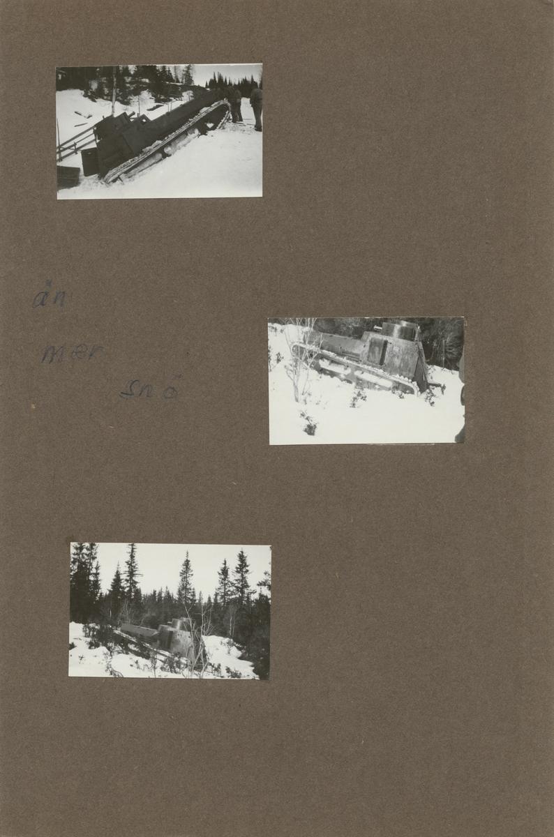 Stridsvagn m/1921 (eller m/1921-1929) körs upp till fjäll. Stridsvagnskursen vid Göta livgardes stridsvagnsbataljon övar i djupsnö vid Abisko.