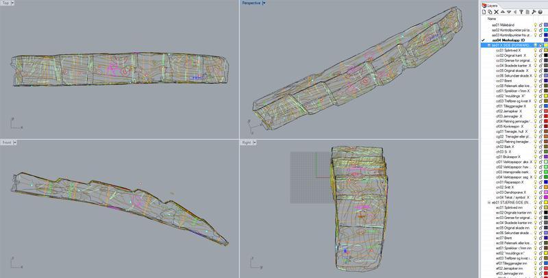 Skjermdump fra Rhino-tegning av del av bunnstokk. Lagmenyen til høyre fungerer også som sjekkliste.