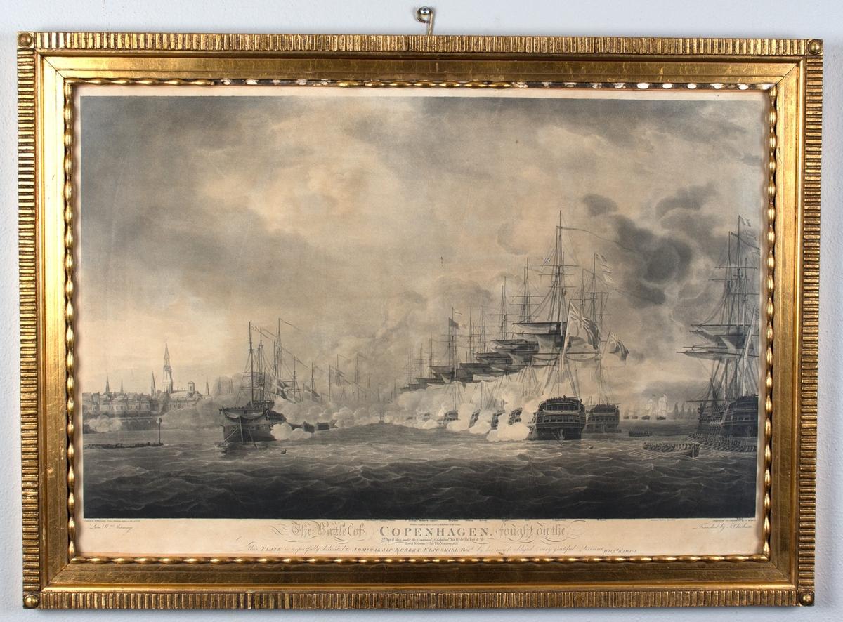 Sjøslaget om København. Britiske krigsskip i kamp med den danske flåten med København i bakgrunnen.