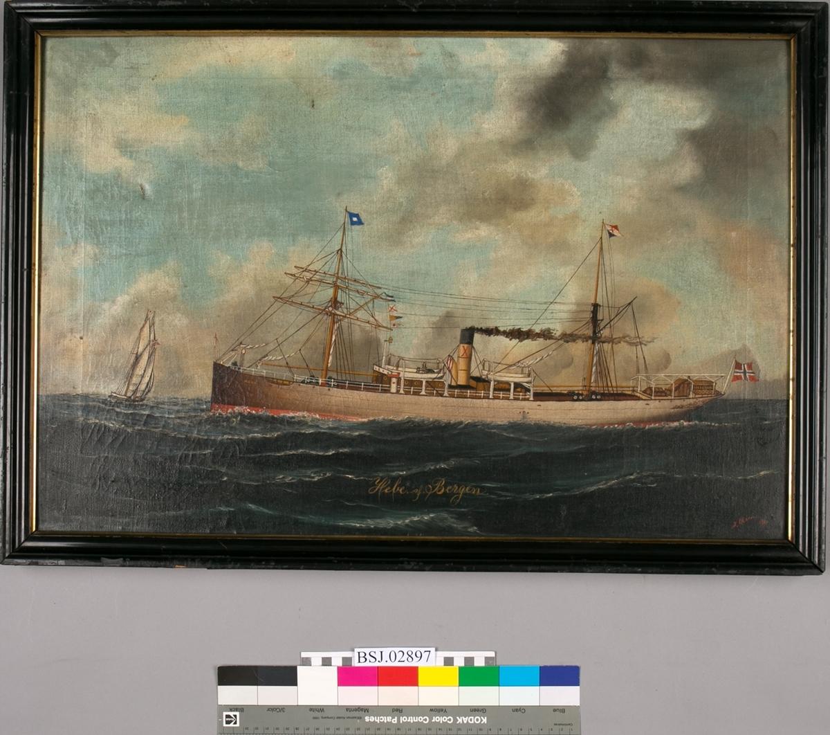 Skipsportrett av DS HEBE under fart i åpen sjø. Har skorsteinsmerke til Harloff og Bøe/Rødseth samt norsk handelsflagg med svensk-norsk unionsmerke. Ser et seilskip foran baugen.