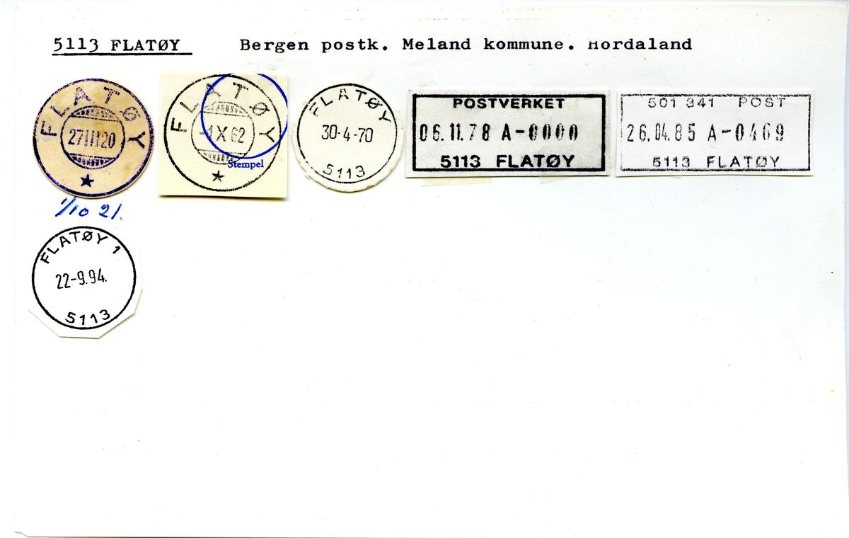 Stempelkatalog, 5113 Flatøy, Bergen, Meland, Hordaland