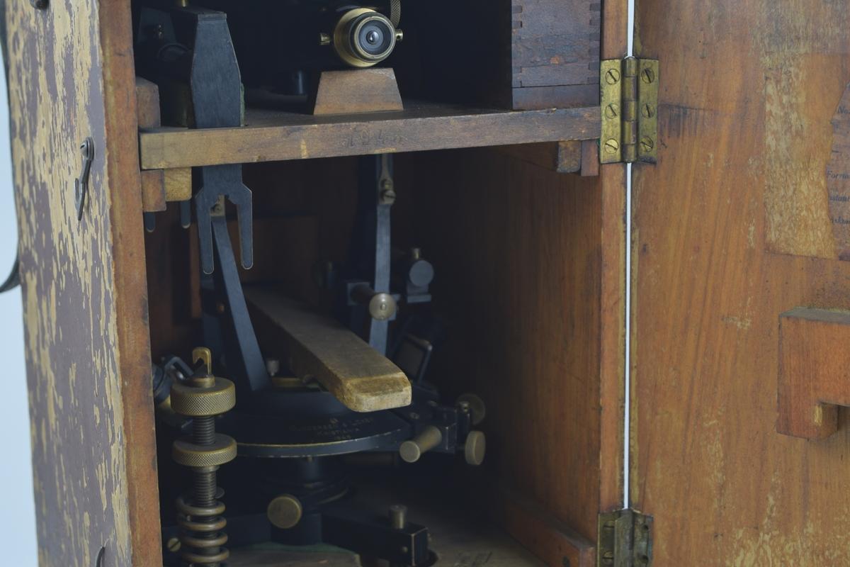 Landmålingskikkert/teodolitt brukes til å måle nivå/høydeforskjeller i terreng. Instrumentet er montert i trekasse med dør som åpnes og med håndtak og skulderstropp.