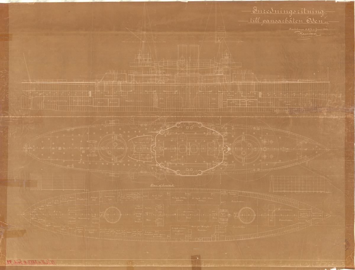 Inredningsritning till pansarbåten Oden