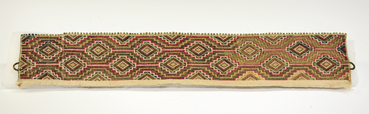 Fra protokollen:  Kvarde av bomuld, sydd i korssting i grønt, gult, rødt og hvitt. Mønster: baand av trappegavlede rhomber (J. Bugge Berge, Sømkunst I, pl. IX, nr. 2 nedenfra). Falmede farger.