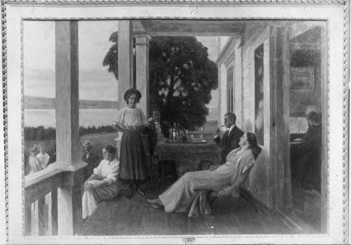 """Fotografi av maleri. Bildetekst: """"Paa Toten Landssted. Efter maleri av Eivind Nielsen. Åsgårdstrand"""