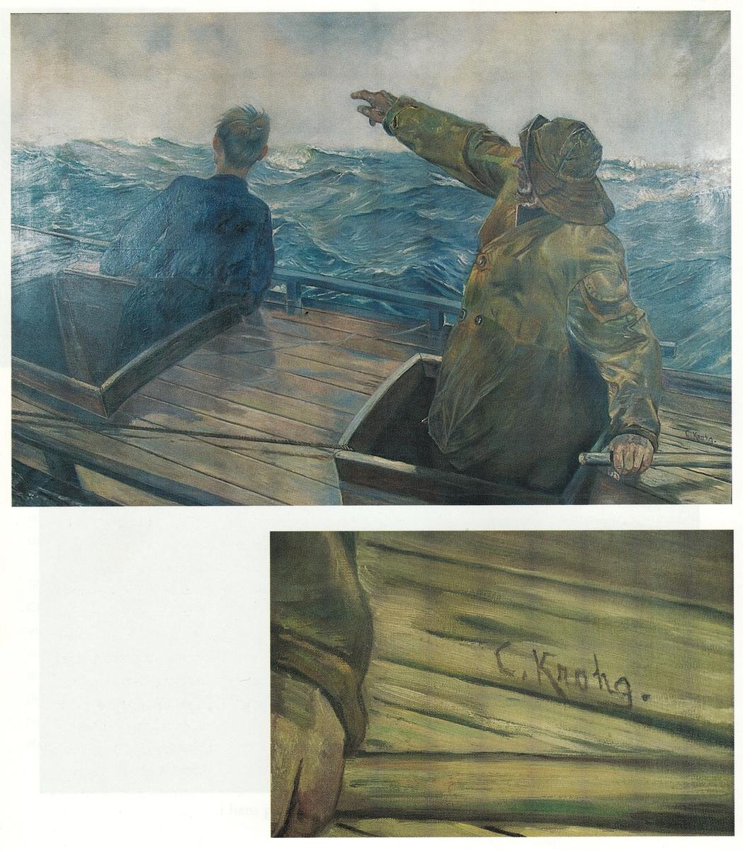 To menn i en båt på havet.