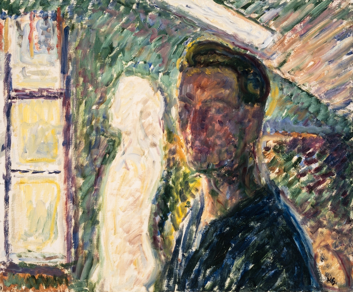 Portrettet er måla på loftet der han hadde innreidd atelier.