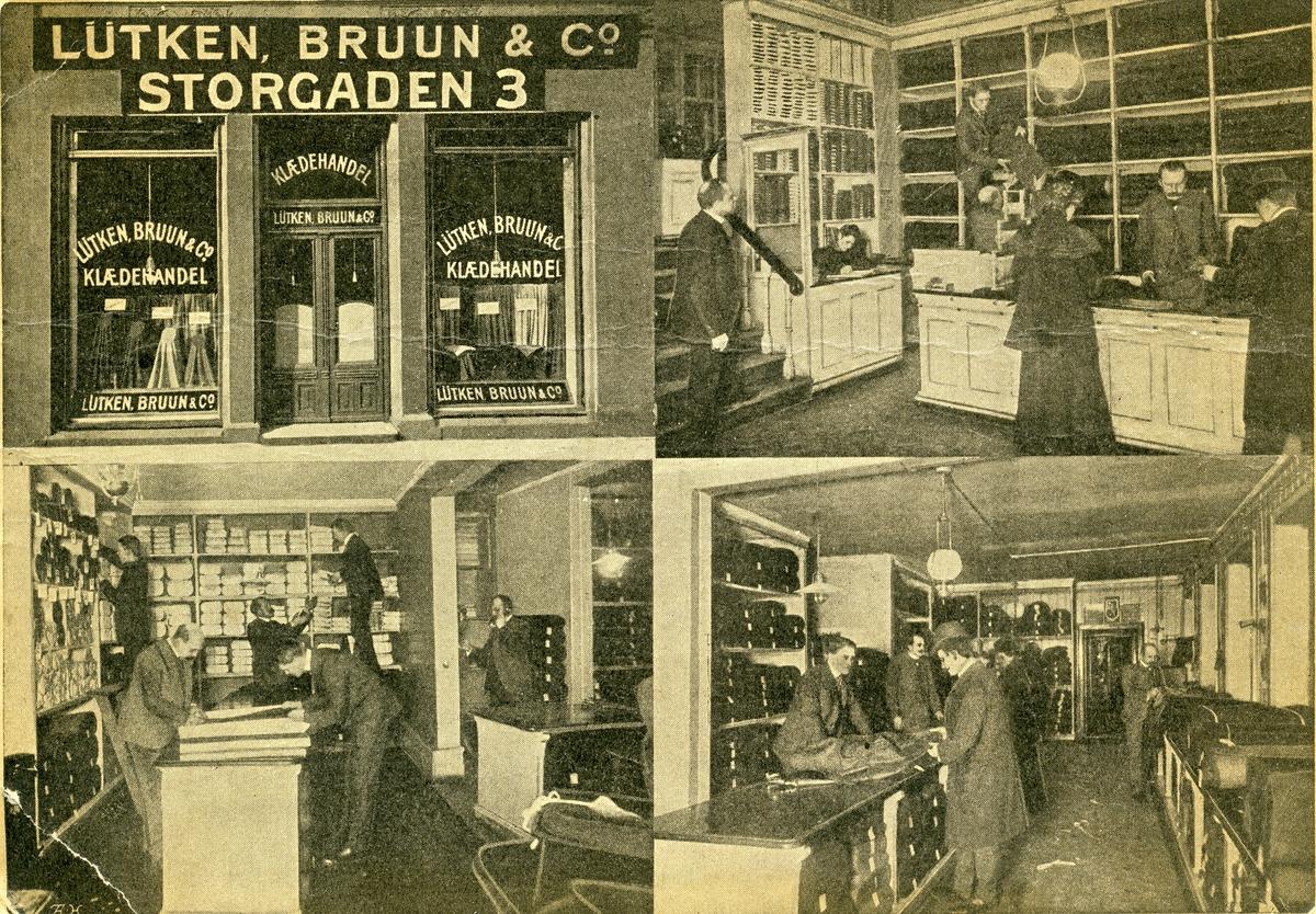 Postkort med motiv av en klesbutikk.