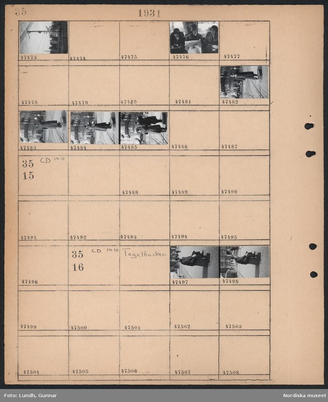 """Motiv: (ingen anteckning) ; Stolpe med skylt """"Varning för tåg flera spår"""", porträtt av tre sittande kvinnor, en man i uniform dirigerar trafik.  Motiv: Tegelbacken; En man i uniform sitter på en pall."""