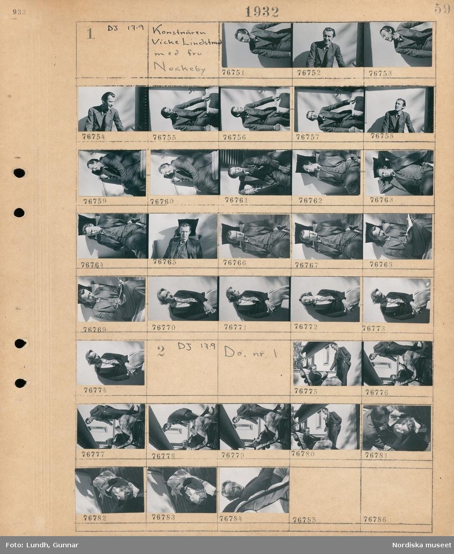 Motiv: Konstnären Vicke Lindstrand med fru, Nockeby; Porträtt av en man, porträtt av en kvinna.  Motiv: Konstnären Vicke Lindstrand med fru, Nockeby; Porträtt av en kvinna i en solstol och en man som står bredvid.