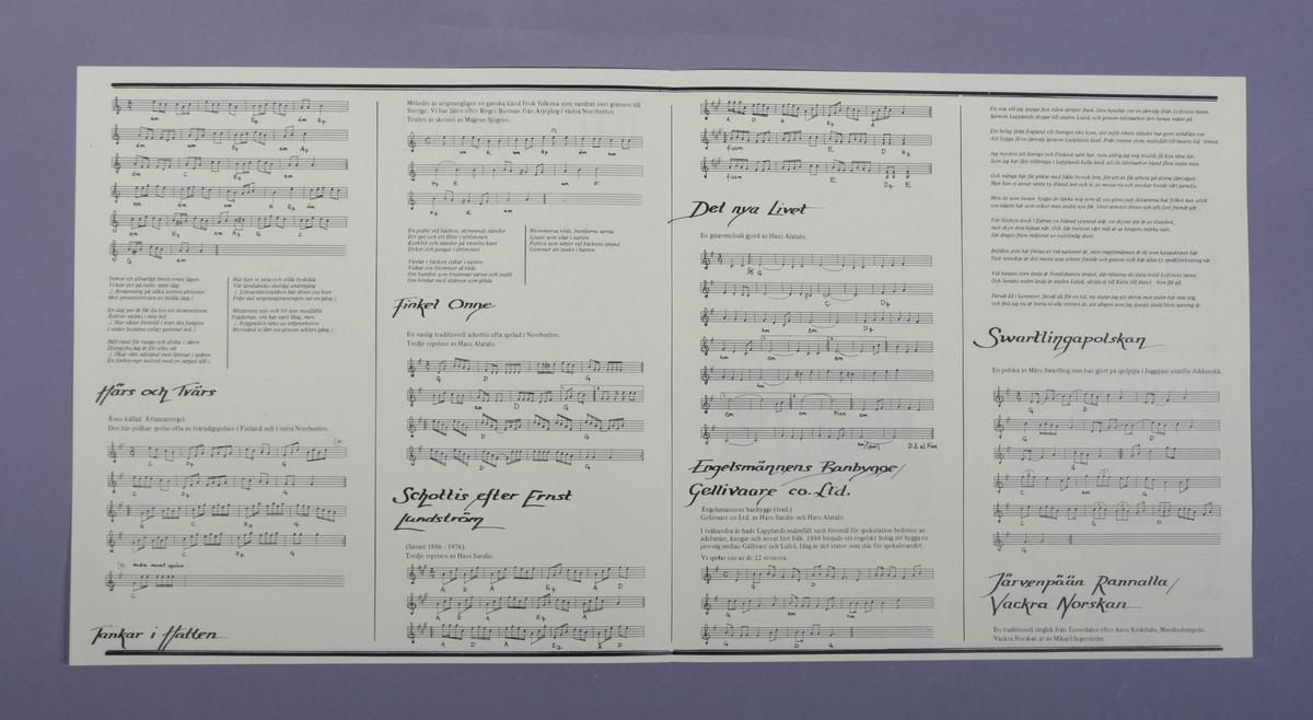 Grammofonplate i svart vinyl og plateomslag i papp. Teksthefte av papir. Plata ligger i en papirlomme.