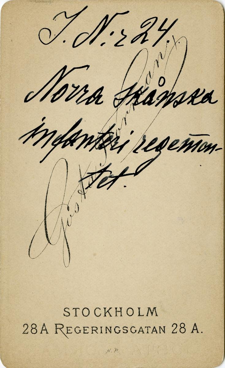 Porträtt av okänd underlöjtnant vid Norra skånska infanteriregementet I 24.
