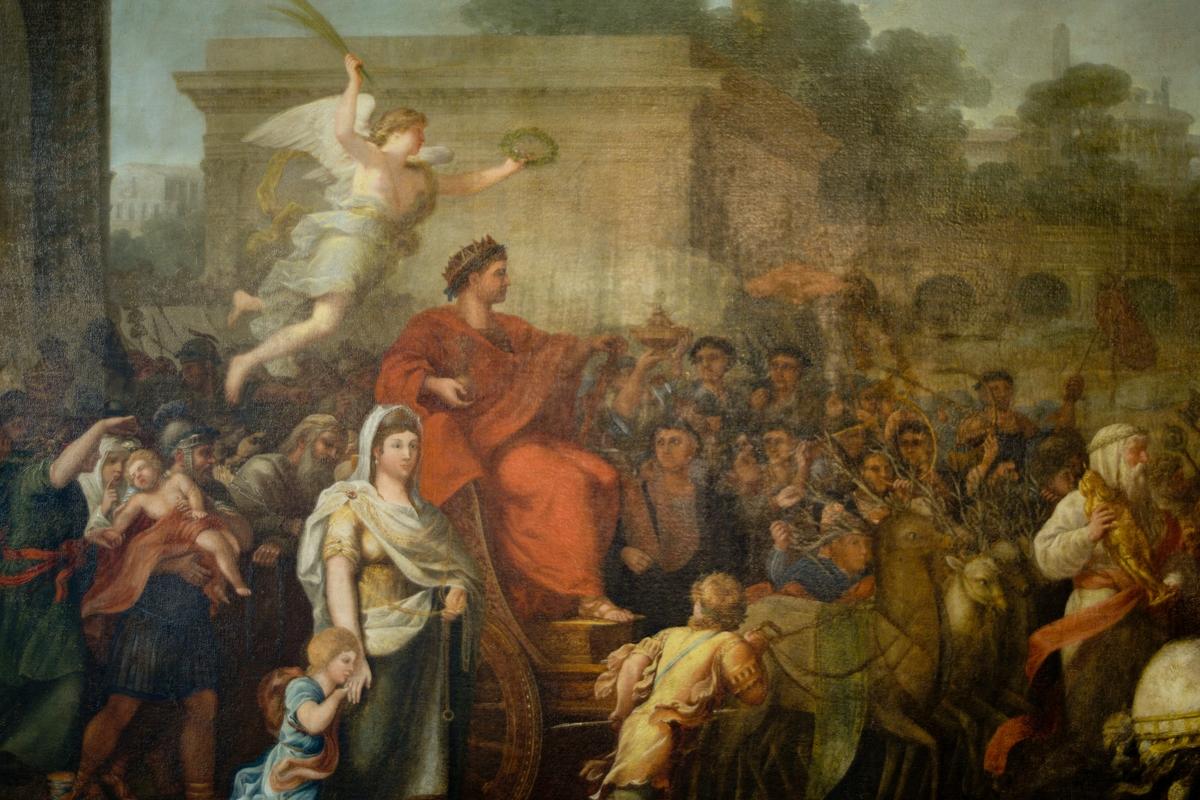Maleriet viser et triumftog med en romersk keiser sittende i en kunstferdig utformet vogn. Ved hans side går en kvinne med et barn, og over flyr seiersgudinnen Viktoria med krans og palmegrein. Bildet er tett fylt med mennesker; foran og bak går soldater som bærer trofeer og kunstverk. I toget er også med hester og eksotiske dyr. (De siste ikke alltid like vellykket i tegningen fra kunstnernes side). Detaljer i bildet gjør det mulig å identifisere maleriet som en skildring av keiser Aurelians triumftog etter beseiringen er Palmyra i 272 e. Kr. Kvinnen ved keiserens side er Zenobia Septima, dronning av Palmyra. Overleveringene om henne skjønnhet og høye dannelse har fått kunsteren til å fremstille henne likeverdig med keiseren. De gylne lenkene hun er nødt til å ha i triumftoget, bærer hun som om de skulle være smykker.