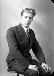 Ateljébild på en man i skjorta, kostym och slips. Enligt Wal
