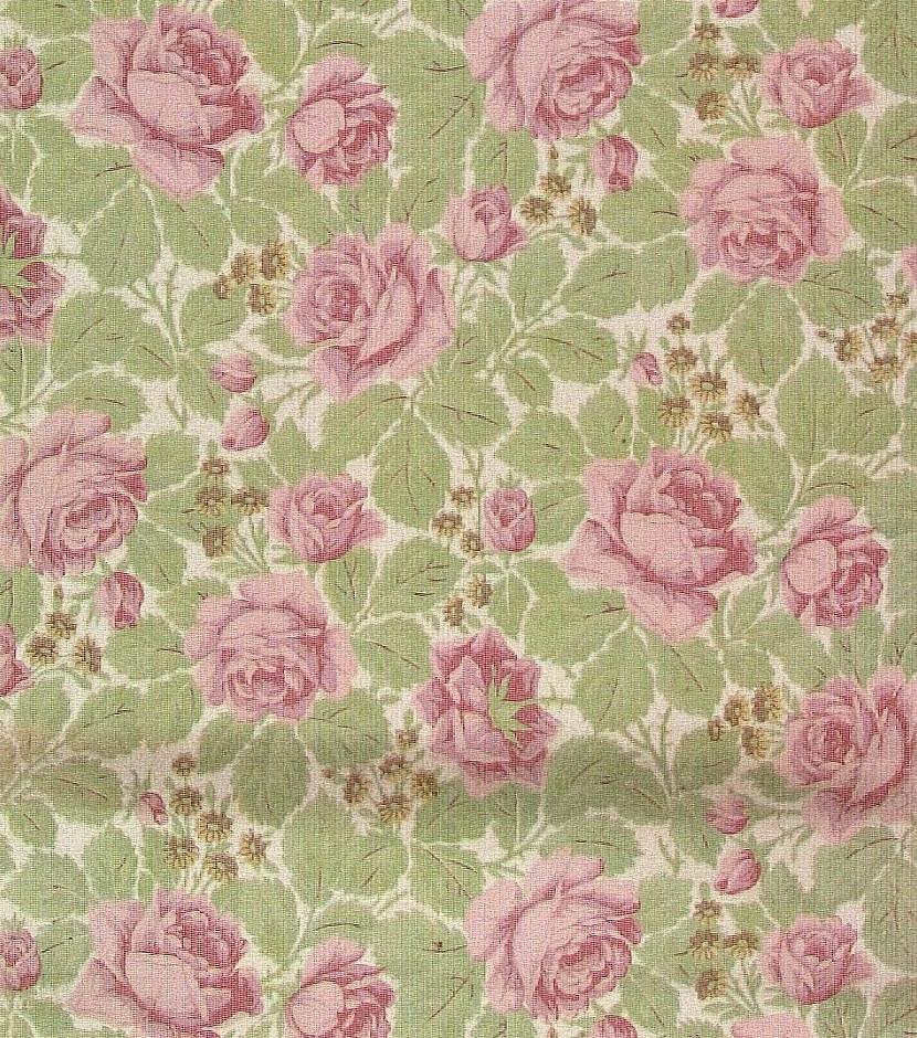 Tätt ytfyllande rosenmönster i två rosa, två ljusgröna och två gula nyanser på en vit bakgrund. Övertryck med randmönster i vitt.     Tillägg historik: Tapet upphittad på vinden på Brunsta gård i Bettna. Gården är från 1850-talet.