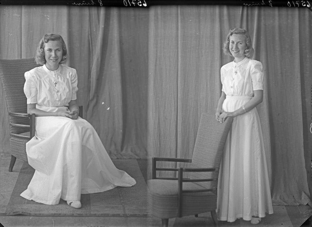 Portrett. Unge kvinne. Konfirmant. Bestillt av Sylvi Wdahl. Espevær.