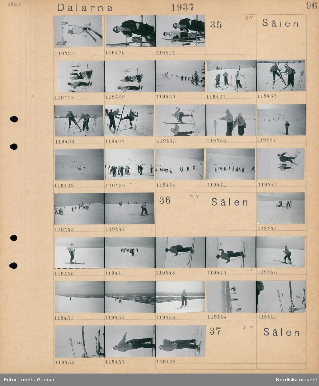Motiv: Dalarna, Sälen; Porträtt av en kvinna vid skidor som äter, porträtt av en man och en kvinna med skidor.  Motiv: Dalarna, Sälen; Människor som åker skidor.  Motiv: Dalarna, Sälen; Människor som åker skidor.