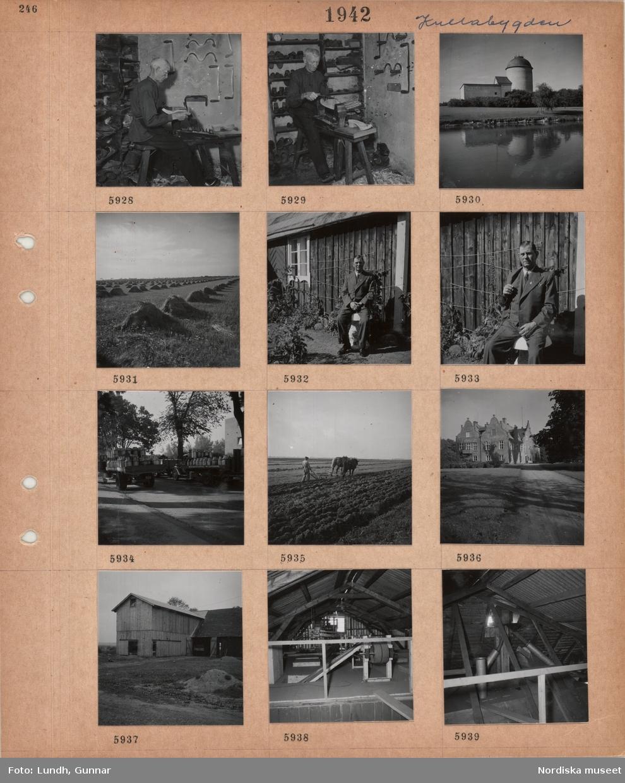Motiv: Kullabygden, äldre man arbetar med tillverkning av träskor i en verkstad, verktyg, arbetsbänk, byggnad med stort runt torn, kärvar på en åker, man i kostym sitter framför trähus, lastbilar med mjölkbehållare på flaket, en man går med en plog dragen av två hästar, stor byggnad med profilerade gavlar, ekonomibyggnad, interiör med maskiner.