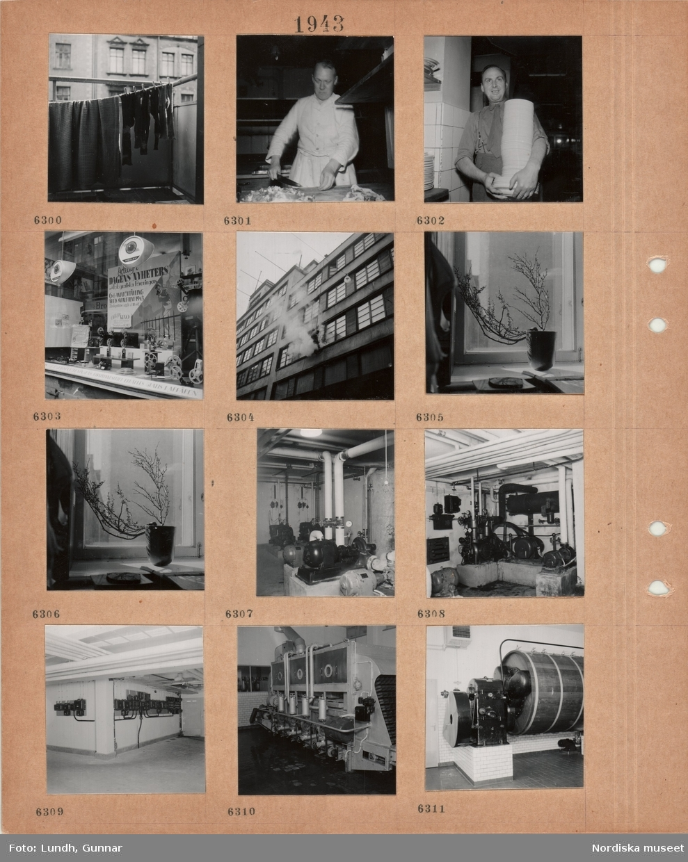"""Motiv: Strumpor hänger på tork på en balkong i stad, en man skär upp livsmedel i ett storkök, en man med skjorta, slips, långbyxor med hängslen bär en stor hög med tallrikar, skyltfönster med filmkameror och reklam för tävling """"Årets smalfilm 1943"""", en man hänger utanför en fasad och tvättar fönster(?), vas med kvistar i fönster, maskinrum med rörledningar, elskåp."""