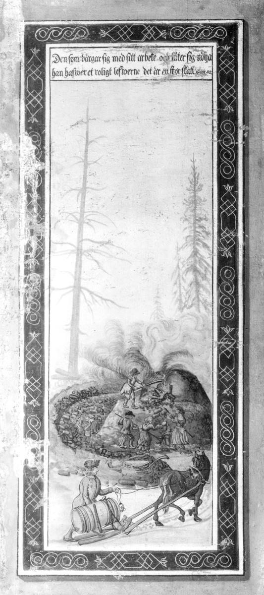 Hedesunda. Väggmålning från Backa, Hedesunda. Tillhör Dr Axel Eriksson, Stockholm. Allmogemåleri H. Wikström.