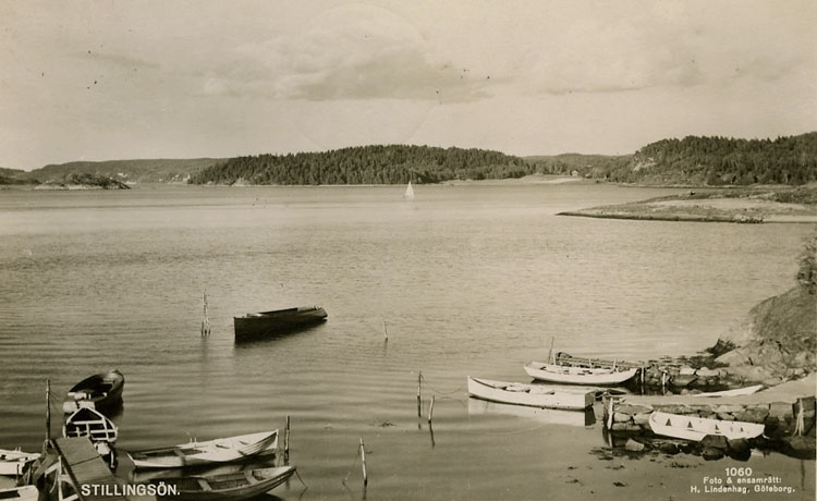 """Enligt Bengt Lundins noteringar: """"Stillingsön. Småbåtar. Utsikt mot Sparreviken"""""""