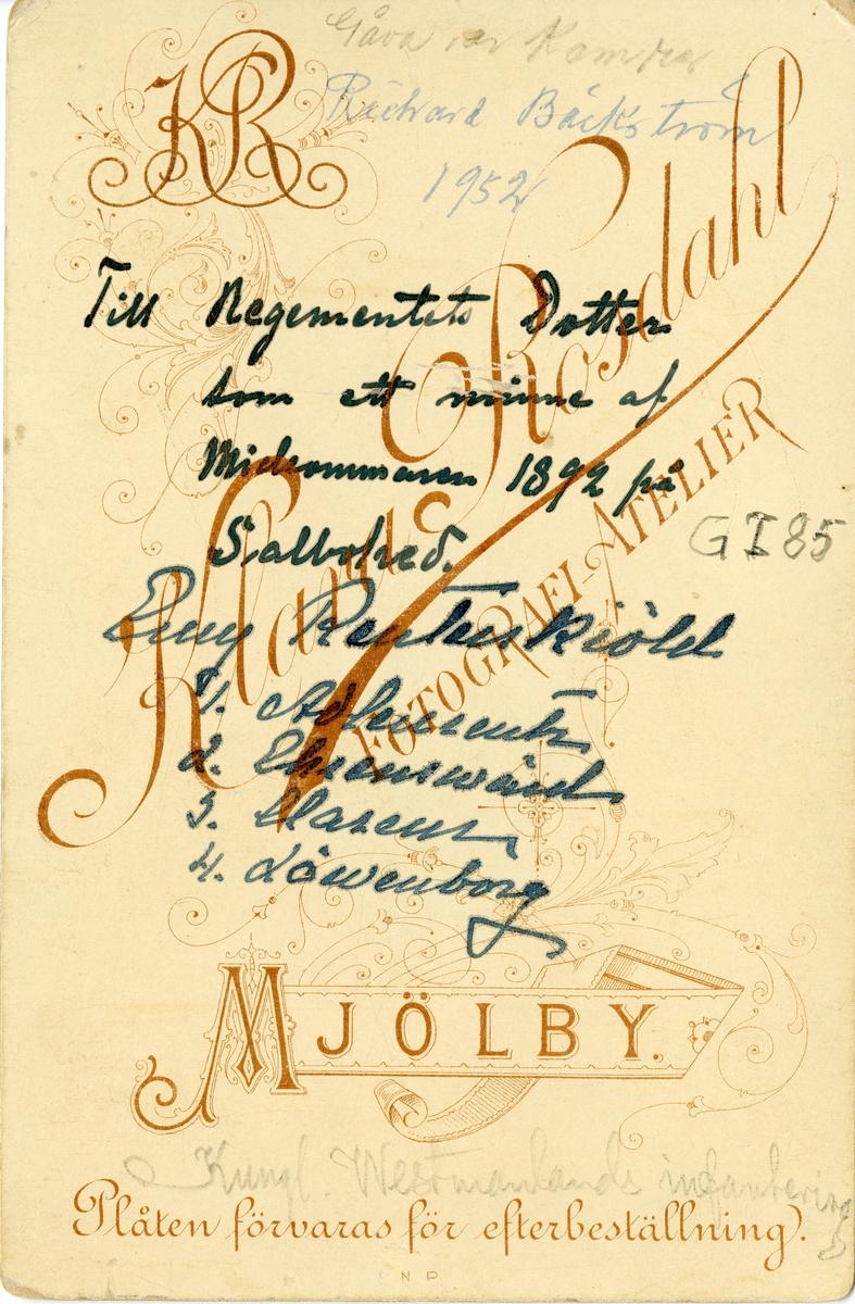 Grupporträtt av officerare vid Västmanlands regemente I 18 på Salbohed 1892. för namn, se bild nr. 2.