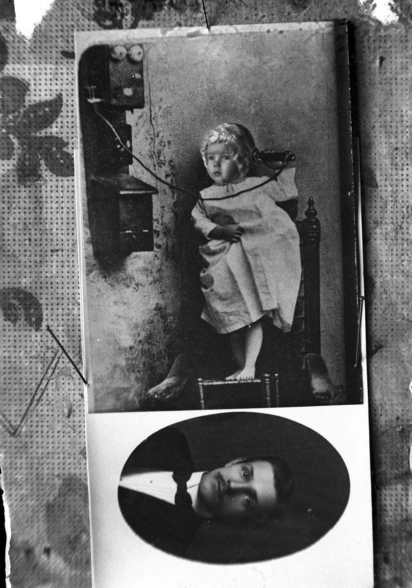 Flicka vid telefon. Porträtt av man (2 bilder). Repro av äldre foto.