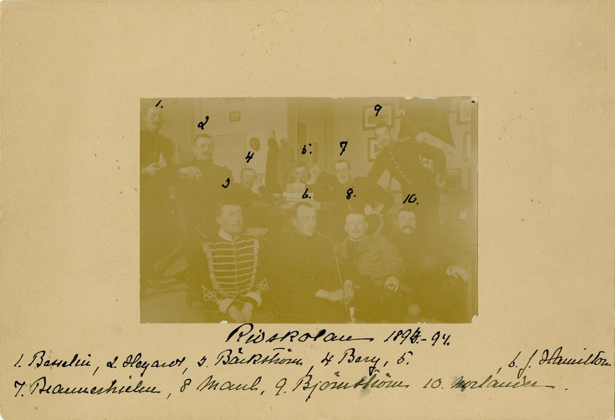 Officerare på Strömsholms ridskola 1893-1894. För namn, se bild nr. 2.