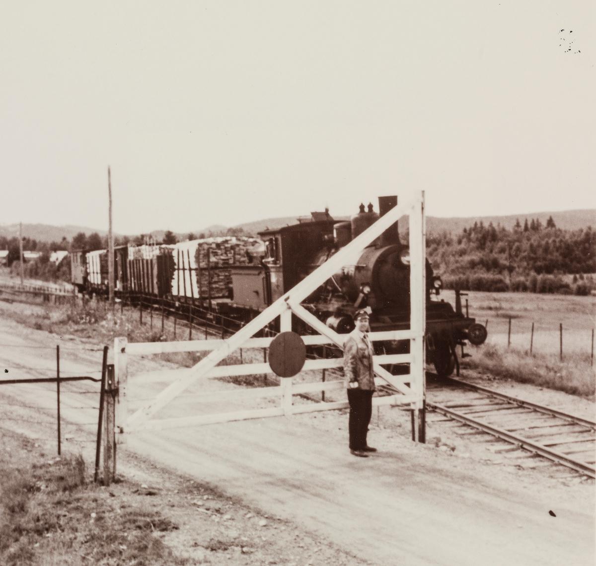På Vestmarkalinjen måtte togpersonalet selv betjene planovergangene og åpne og lukke grindene. I bakgrunnen tog med fullastede plankevogner underveis til Skotterud. Toget trekkes av damplokomotiv type 21.