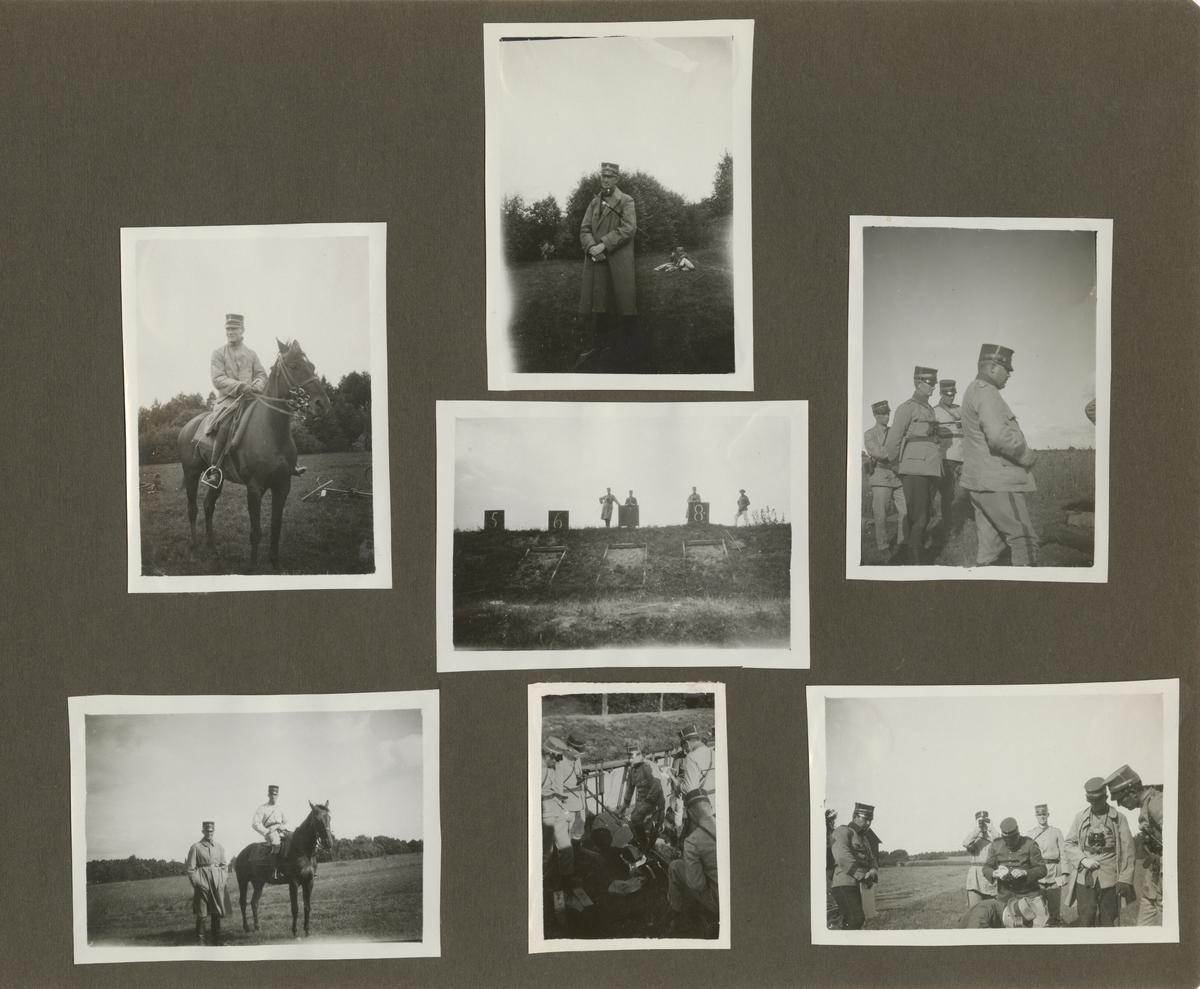 Soldat till häst och fot på övningsfält.