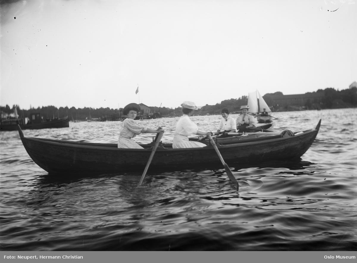 fjord, robåter, kvinner, kapproing under britisk flåtebesøk