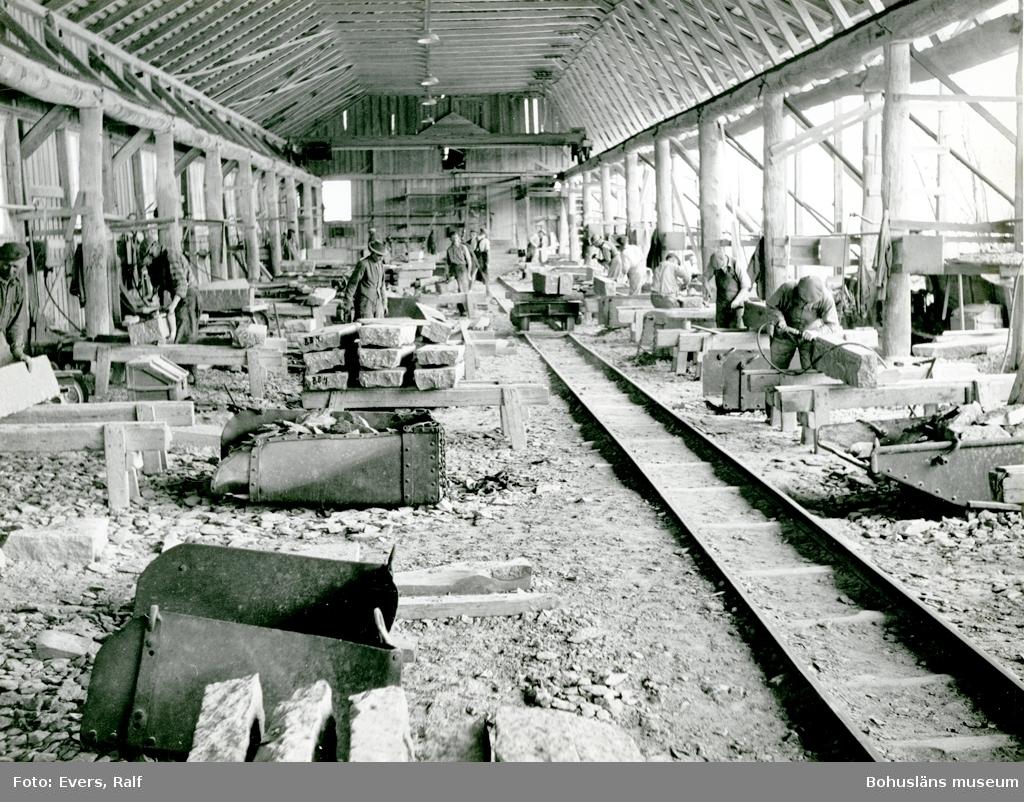 Stenhuggare står längs två rader under ett tak och bearbetar kantsten, mellan raderna går en räls på vilken stenblocken förflyttas