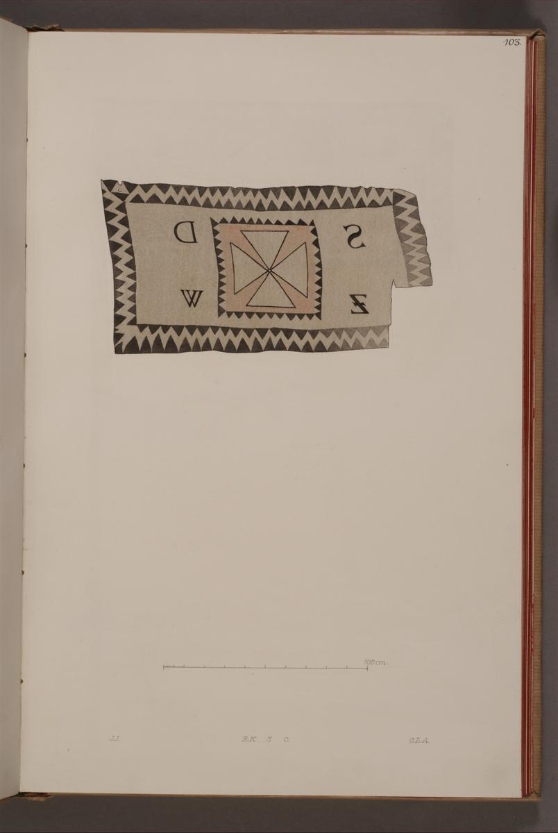 Avbildning i gouache föreställande fälttecken taget som trofé av svenska armén. Den avbildade fanan finns bevarad i Armémuseums samling, för mer information, se relaterade objekt.
