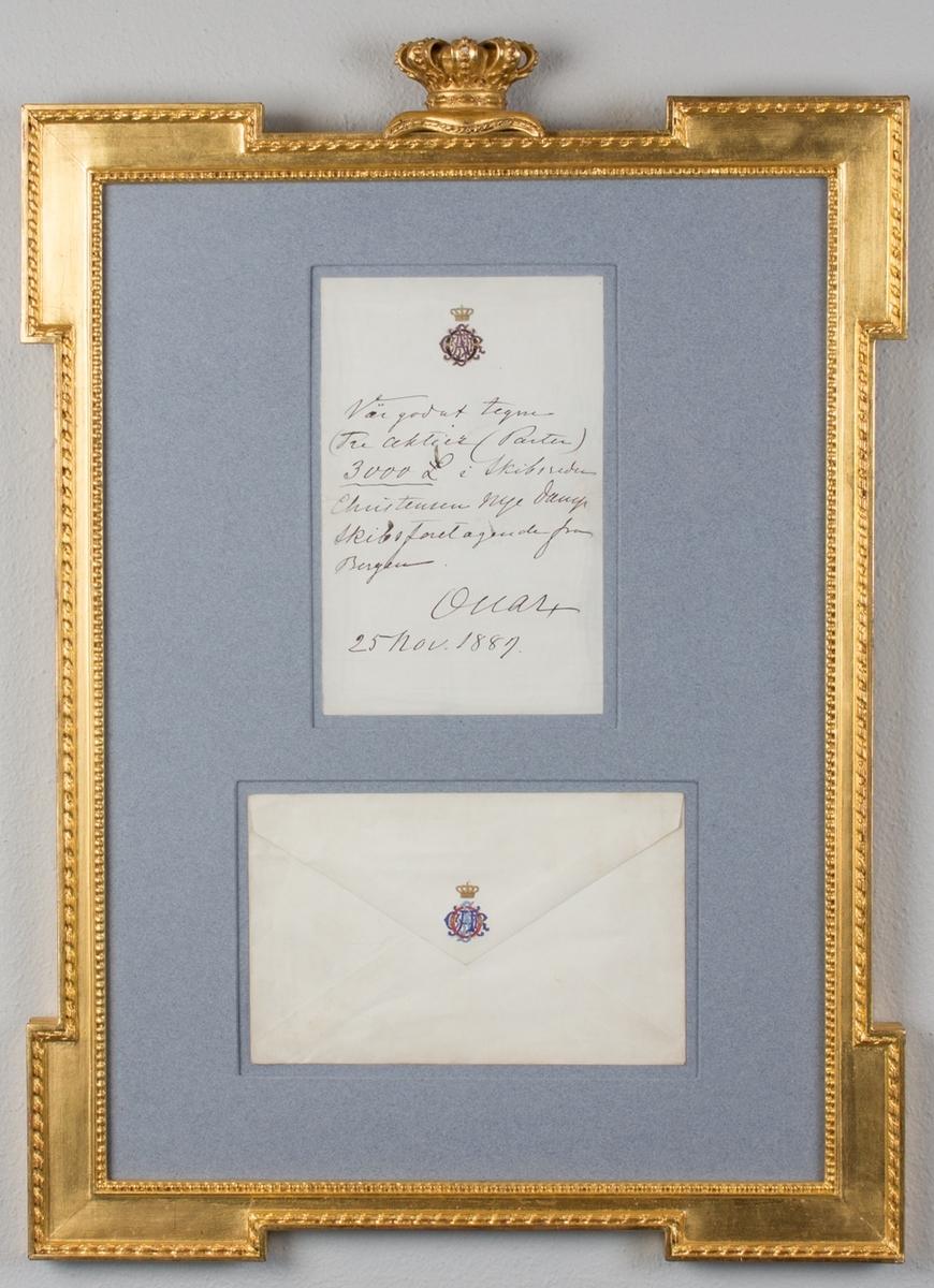 Brev og konvolutt fra kong Oscar II til skipsreder Jacob Christiansen, hvor kongen ber om å få tegne tre parter i rederens dampskipsforetak.