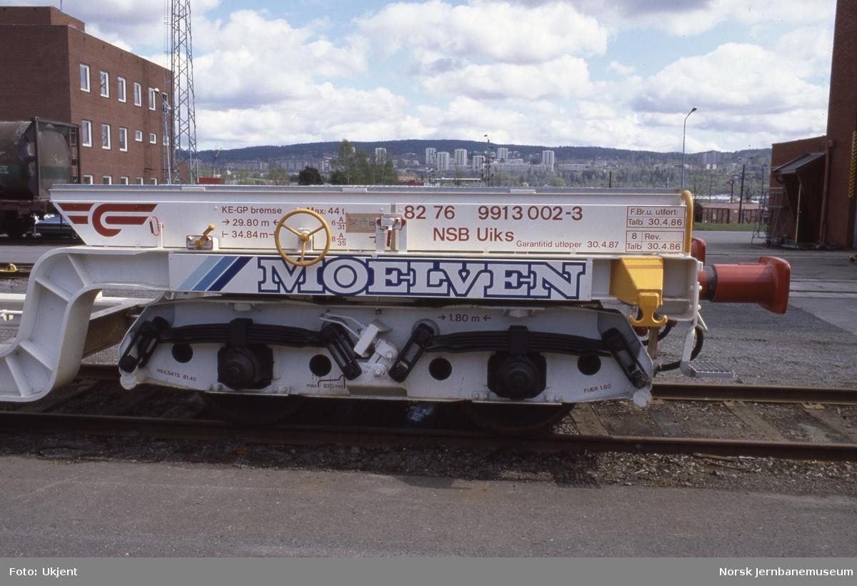 Dyplastevogn litra Uiks nr. 991 3002 bygget for transporter for Moelven Brug