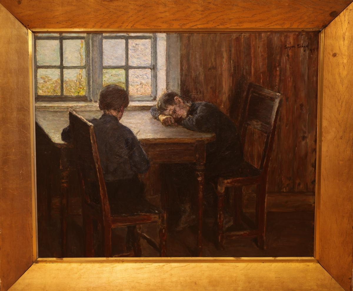 Guttene leser lekser i kontorbygningen på Undesløs, Skrivergarden.