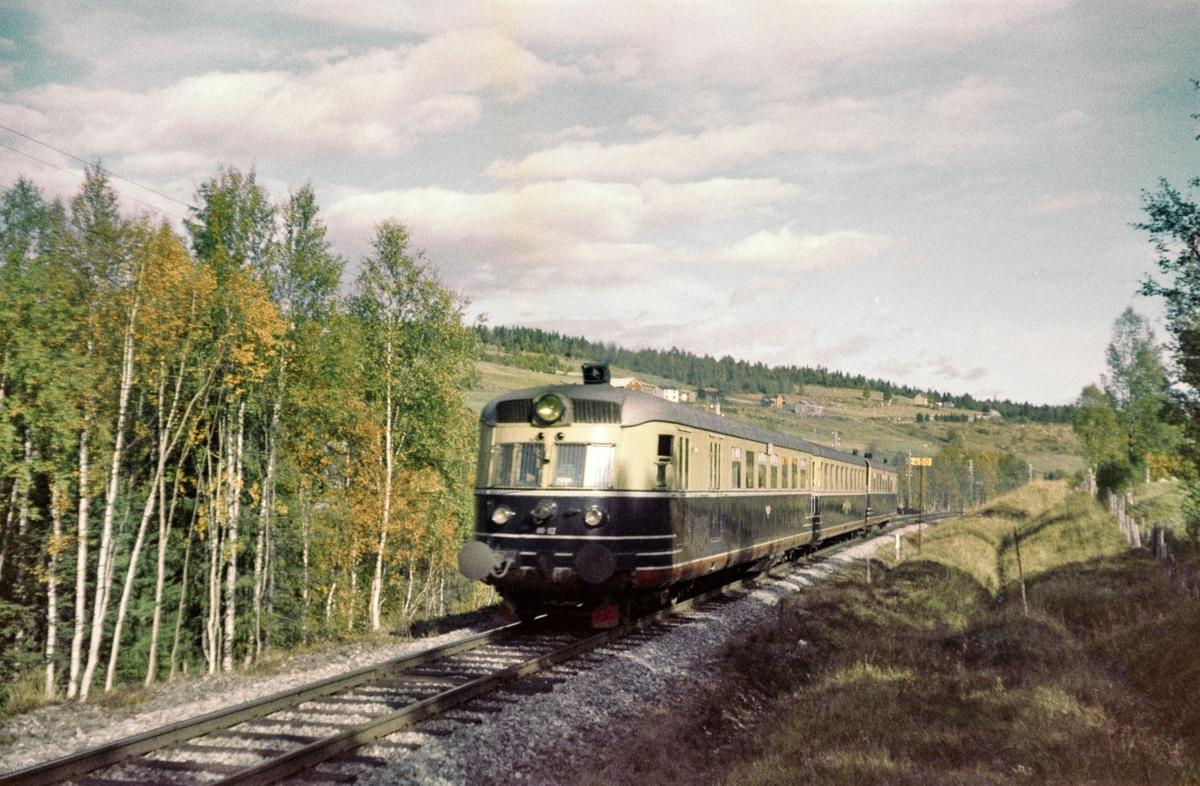 Dovreekspressen mellom Garli og Berkåk stasjoner Dovrebanen. Toget er underveis til Oslo.
