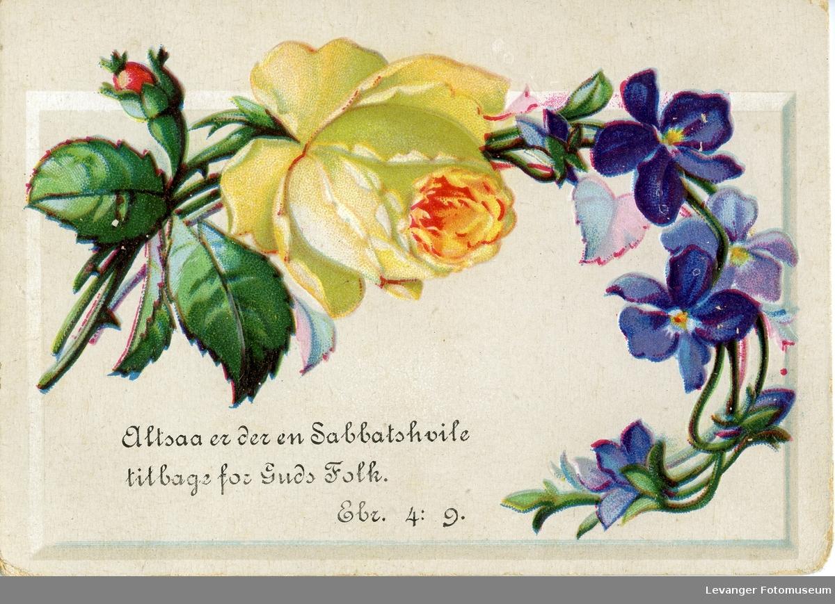Postkort med blomstermotiv og bibelsitat.