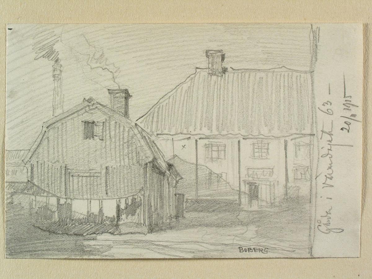 Stockholm, Södermalm, Kv. Vintertullen större. Gården på Värmdögatan 63 (nuvarande Malmgårdsvägen). Teckning av Ferdinand Boberg