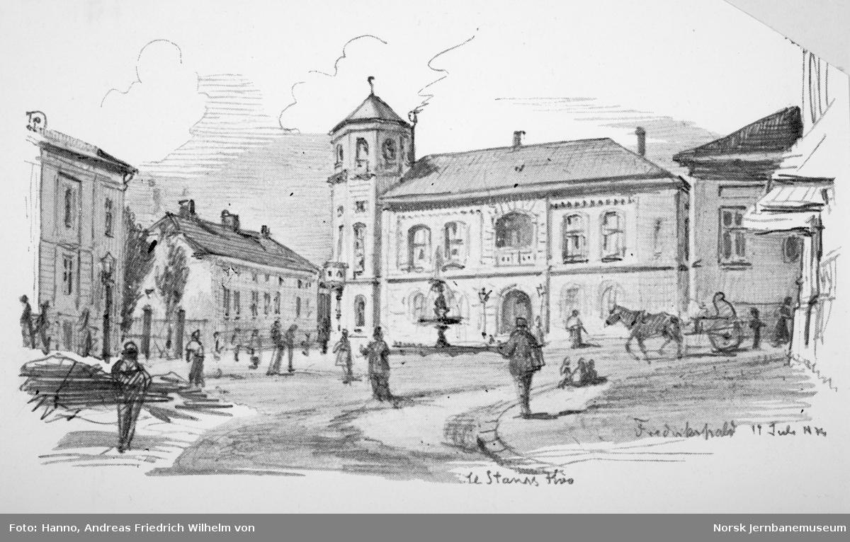 Åpningen av Østfoldbanen Halden-Kornsjø og Dalsland Jernväg - tegninger av von Hanno - fra Fredrikshald